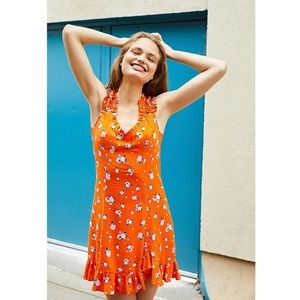 Free People Like a Lady Orange Mini Dress